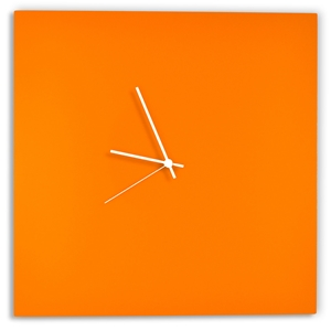 Orangeout Square Clock by Adam Schwoeppe - Minimalist Orange Metal Wall Clock