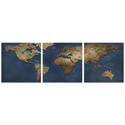 1800s World Map Triptych Large 70x22in. Metal or Acrylic Colonial Decor