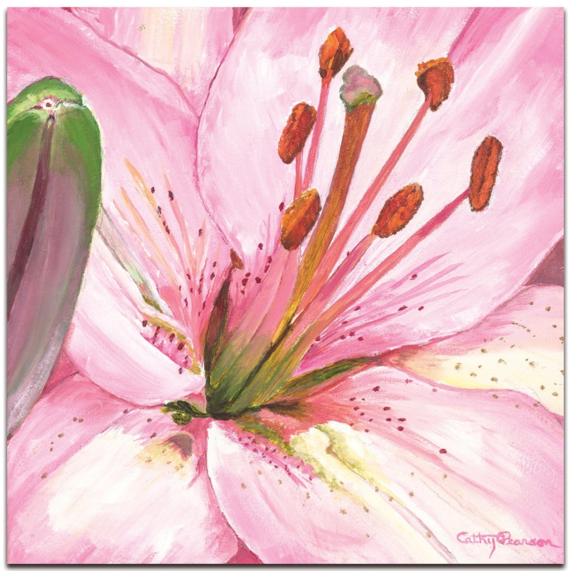 Traditional Wall Art 'Heart of a Pink Lily' - Floral Decor on Metal or Plexiglass