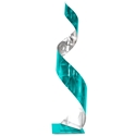 Helena Martin 'Teal Curl Sculpture' 9in x 35in Abstract Metal Art on Ground and Painted Metal