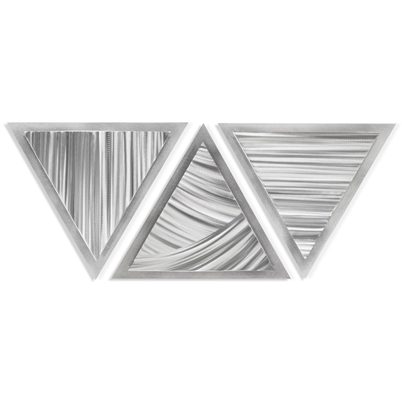 Helena Martin 'Sweeping Angles' 34in x 13in Modern Metal Art on Ground Metal