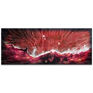 Helena Martin 'Celestial Landscape Red' 60in x 24in Original Abstract Art on Ground and Colored Metal