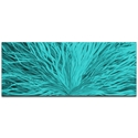 Helena Martin 'Blooming Teal' 60in x 24in Original Abstract Art on Ground and Painted Metal