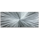 Helena Martin 'Starburst Silver' 60in x 24in Original Abstract Art on Ground Metal
