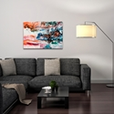 Abstract Wall Art 'Sunset on Her Breath 1' - Colorful Urban Decor on Metal or Plexiglass - Lifestyle View