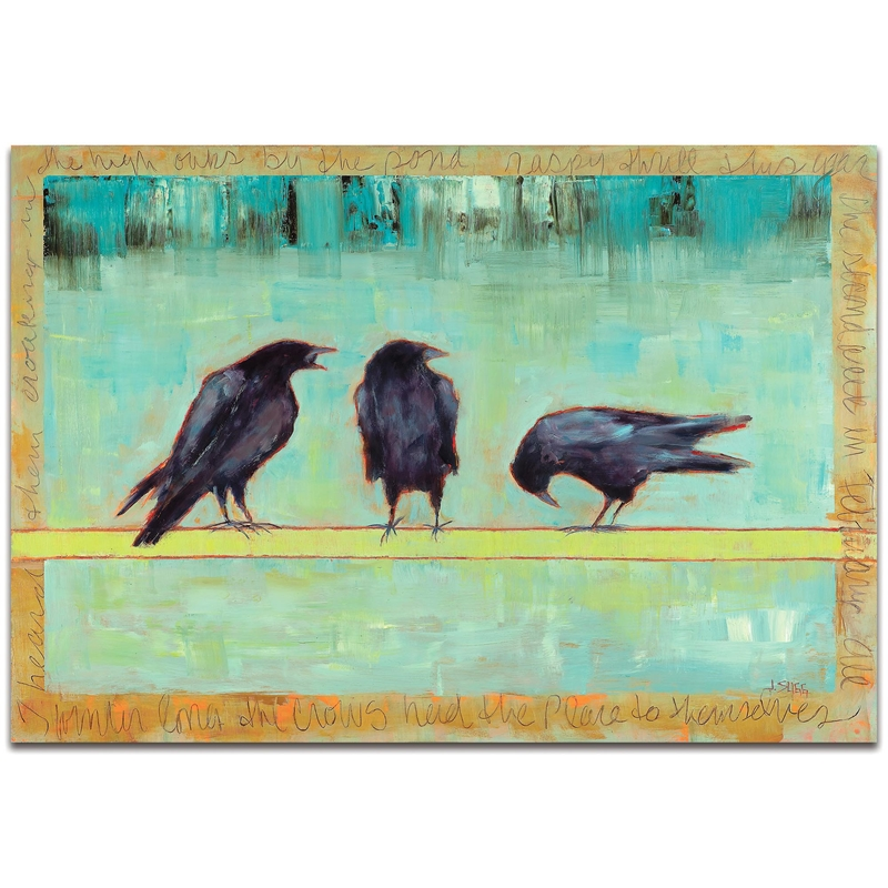 Contemporary Wall Art 'Crow Bar 1' - Urban Birds Decor on Metal or Plexiglass