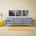 Storm Blue Triptych Large 70x22in. Metal or Acrylic Abstract Decor - Lifestyle View