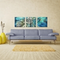 Moonlight Triptych Large 70x22in. Metal or Acrylic Fantasy Decor - Lifestyle View