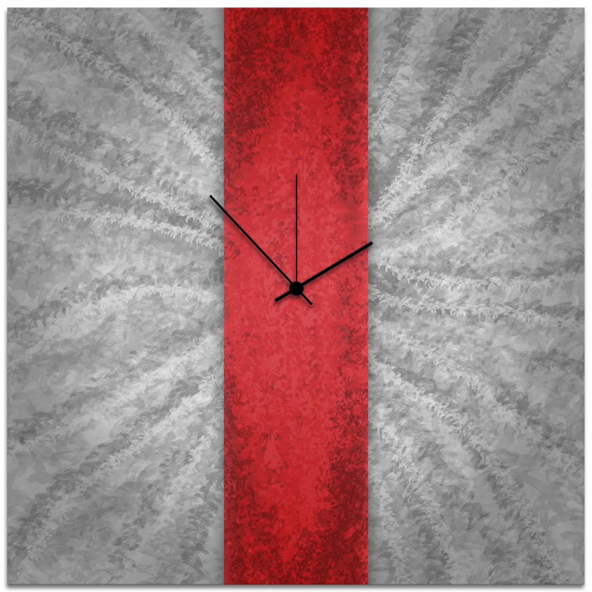Red Stripe Clock - Contemporary Metal Wall Clock