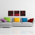 Aporia Red Triptych Large 70x22in. Metal or Acrylic Contemporary Decor - Lifestyle View