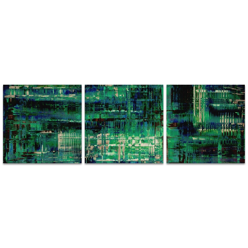 Aporia Blue Triptych 38x12in. Metal or Acrylic Contemporary Decor