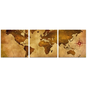 Old World Map Triptych Large 70x22in. Metal or Acrylic Colonial Decor