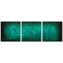 Ocean Mist Triptych 38x12in. Metal or Acrylic Abstract Decor - Image 2
