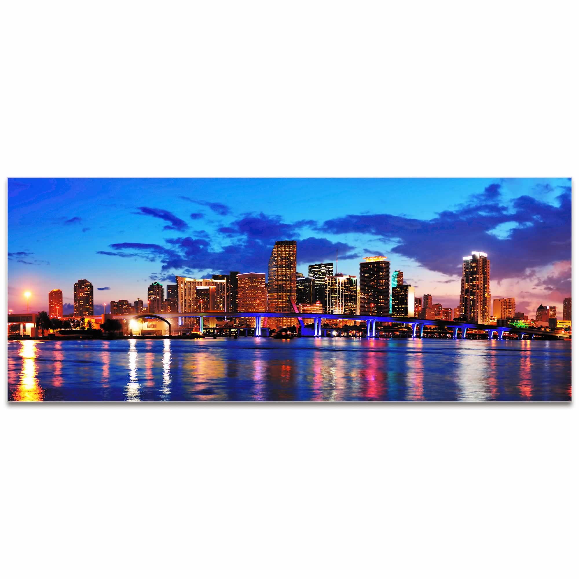 Miami City Skyline - Urban Modern Art, Designer Home Decor, Cityscape Wall Artwork, Trendy Contemporary Art