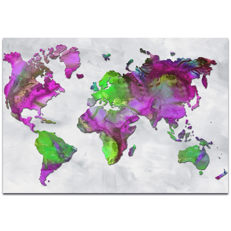 Abstract World Map 'The Beauty of Color Overlay v2' - Modern Map Art on Metal or Acrylic