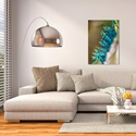 Contemporary Wall Art 'Feather Closeup' - Peacock Decor on Metal or Plexiglass - Lifestyle View