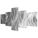 Columnar Plumage 64x36in. Natural Aluminum Abstract Decor - Image 2