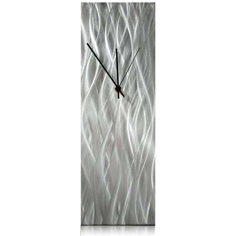 Silver Waves Desk Clock 6x18in. Natural Aluminum
