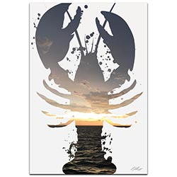 Lobster Sunrise by Adam Schwoeppe Animal Silhouette on White Metal