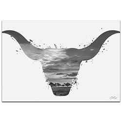 Longhorn Sky Gray by Adam Schwoeppe Animal Silhouette on White Metal