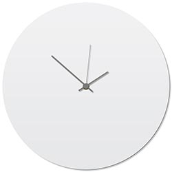 Whiteout Grey Circle Clock 16x16in. Aluminum Polymetal