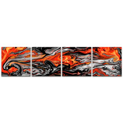 Lava Red - Reverse-Print Acrylic Abstract Art