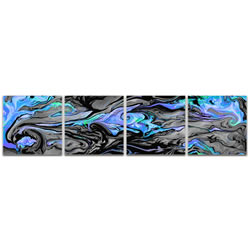 Lava Blue - Reverse-Print Acrylic Abstract Art