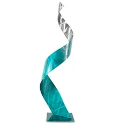 Helena Martin Crystal Teal Sculpture 10in x 34in Abstract Metal Art on Ground and Painted Metal