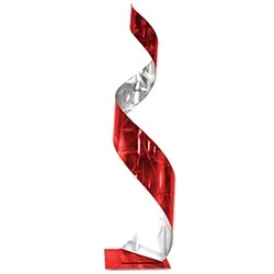 Helena Martin Red Curl Sculpture 9in x 35in Abstract Metal Art on Ground and Painted Metal