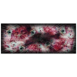 Helena Martin Warm Nebula 60in x 24in Original Abstract Art on Ground and Colored Metal