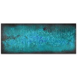 Helena Martin Milky Way Static 60in x 24in Original Abstract Art on Ground and Colored Metal