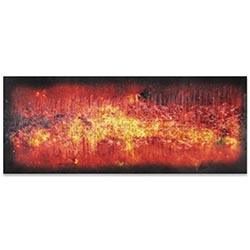 Helena Martin Milky Way Flame 60in x 24in Original Abstract Art on Ground and Colored Metal