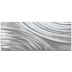 Helena Martin Moment of Impact Silver 60in x 24in Original Abstract Art on Ground Metal
