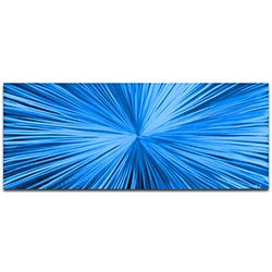Helena Martin Starburst Blue 60in x 24in Original Abstract Art on Ground and Painted Metal