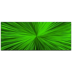 Helena Martin Starburst Green 60in x 24in Original Abstract Art on Ground and Painted Metal