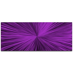 Helena Martin Starburst Purple 60in x 24in Original Abstract Art on Ground and Painted Metal