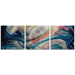 Grace and Virtue Triptych Large 70x22in. Metal or Acrylic Abstract Decor