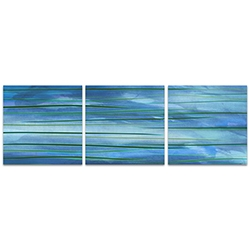 Ocean View Triptych Large 70x22in. Metal or Acrylic Abstract Decor