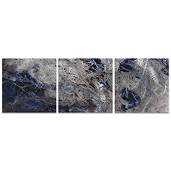 Storm Blue Triptych Large 70x22in. Metal or Acrylic Abstract Decor