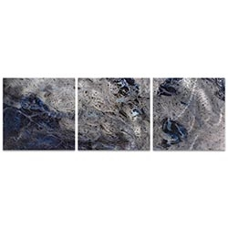 Storm Blue Triptych 38x12in. Metal or Acrylic Abstract Decor