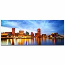 Baltimore City Skyline - Urban Modern Art, Designer Home Decor, Cityscape Wall Artwork, Trendy Contemporary Art