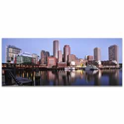 Boston City Skyline - Urban Modern Art, Designer Home Decor, Cityscape Wall Artwork, Trendy Contemporary Art