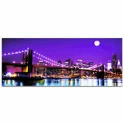 New York Bridge City Skyline - Urban Modern Art, Designer Home Decor, Cityscape Wall Artwork, Trendy Contemporary Art
