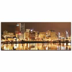 Portland City Skyline - Urban Modern Art, Designer Home Decor, Cityscape Wall Artwork, Trendy Contemporary Art