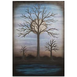 Contemporary Wall Art Full Moon - Bare Trees Decor on Metal or Plexiglass