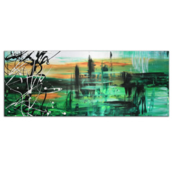 Green Valley 2 - Abstract Painting Print by Megan Duncanson