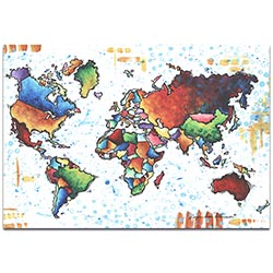 Rainbow Map A World of Diversity - Modern Map Art on Metal or Acrylic