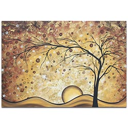 Landscape Painting Golden Rhapsody - Abstract Tree Art on Metal or Acrylic