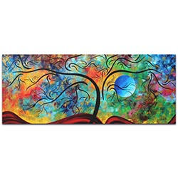 Landscape Painting Blue Moon Rising - Abstract Tree Art on Metal or Acrylic
