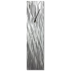 Silver Waves Clock 6x24in. Natural Aluminum